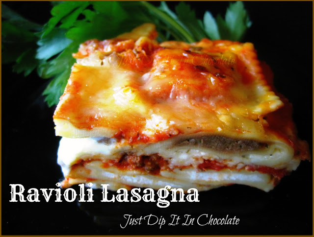 EAsy Ravioli Lasgana, no time to cook noodles, no problem use frozen ravioli and have the ultimate lasagna in no time. It's delicious and you can customize it by changing the flavors of the ravioli! Yum!