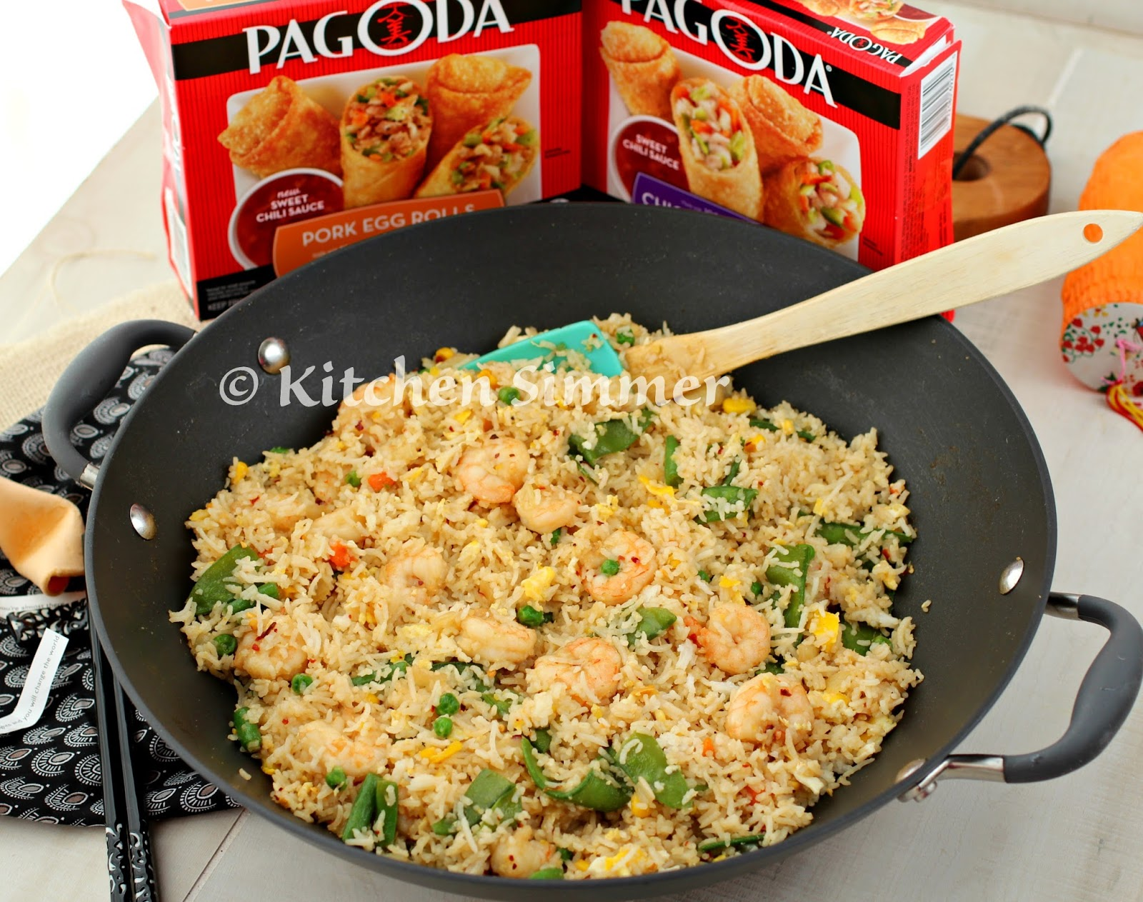 Kitchen simmer easy shrimp fried rice with pagoda egg rolls easy shrimp fried rice with pagoda egg rolls frozenfromscratch collectivebias ccuart Image collections