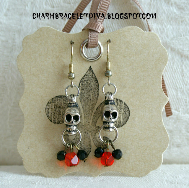 Halloween Vintage skull earrings Dia de los Muertos earrings