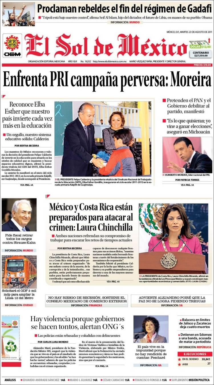 Noticias guerrer s sme titulares de peri dicos primeras for Noticias actuales de espectaculos
