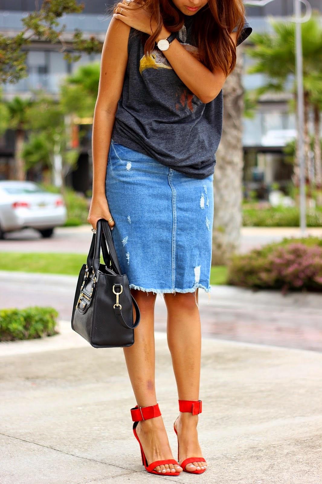 trend alert the distressed denim pencil skirt miss