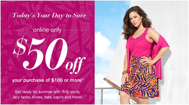 Lane Bryant Coupon Code – Save $50 On Your $100 Purchase (Today Only)