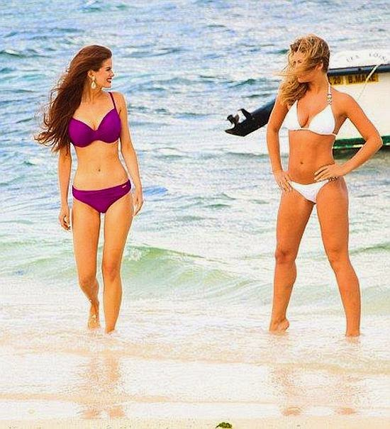 Amy Willerton left little to the imagination in a white bikini when she enjoyed a fun filled day out with several female friends in Mauritius on Thursday, September 5, 2014.
