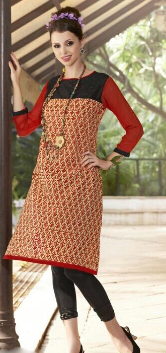 Beautiful Red & Black Cotton Printed Kurti