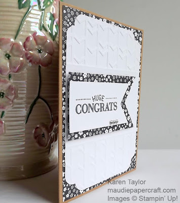 Stampin' Up! Congratulations card, Arrows embossing folder