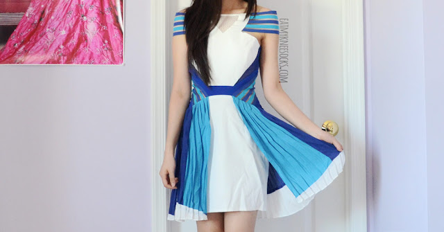 SheIn sells this white, colorblocked sporty dress, a style dupe of the Three Floor Ray of Light dress, for a much cheaper price.