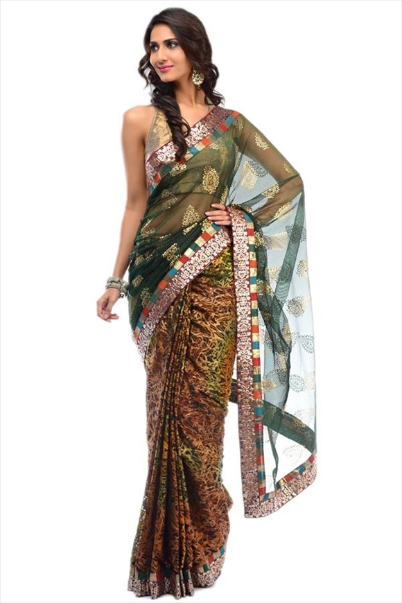 Dark Green Net Saree