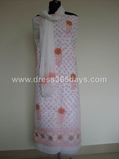 Orange White Lucknowi Chikan Dress Material