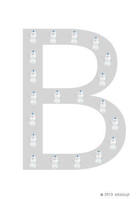 alfabet dla dzieci - bałwany