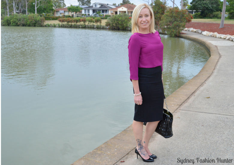 Sydney Fashion Hunter - Fresh Fashion Forum #4 - Black Pencil Skirt, Pink Boatneck Blouse, Black Patent Dior Tote, Black Patent Prada Pumps