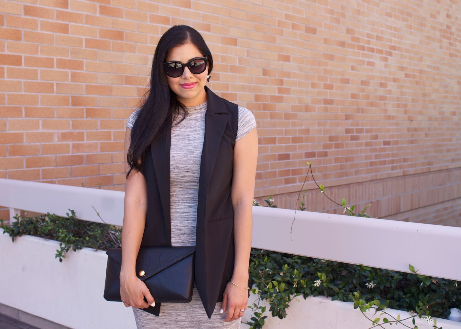 long black vest, windsor black vest, linell ellis clutch, black structured clutch
