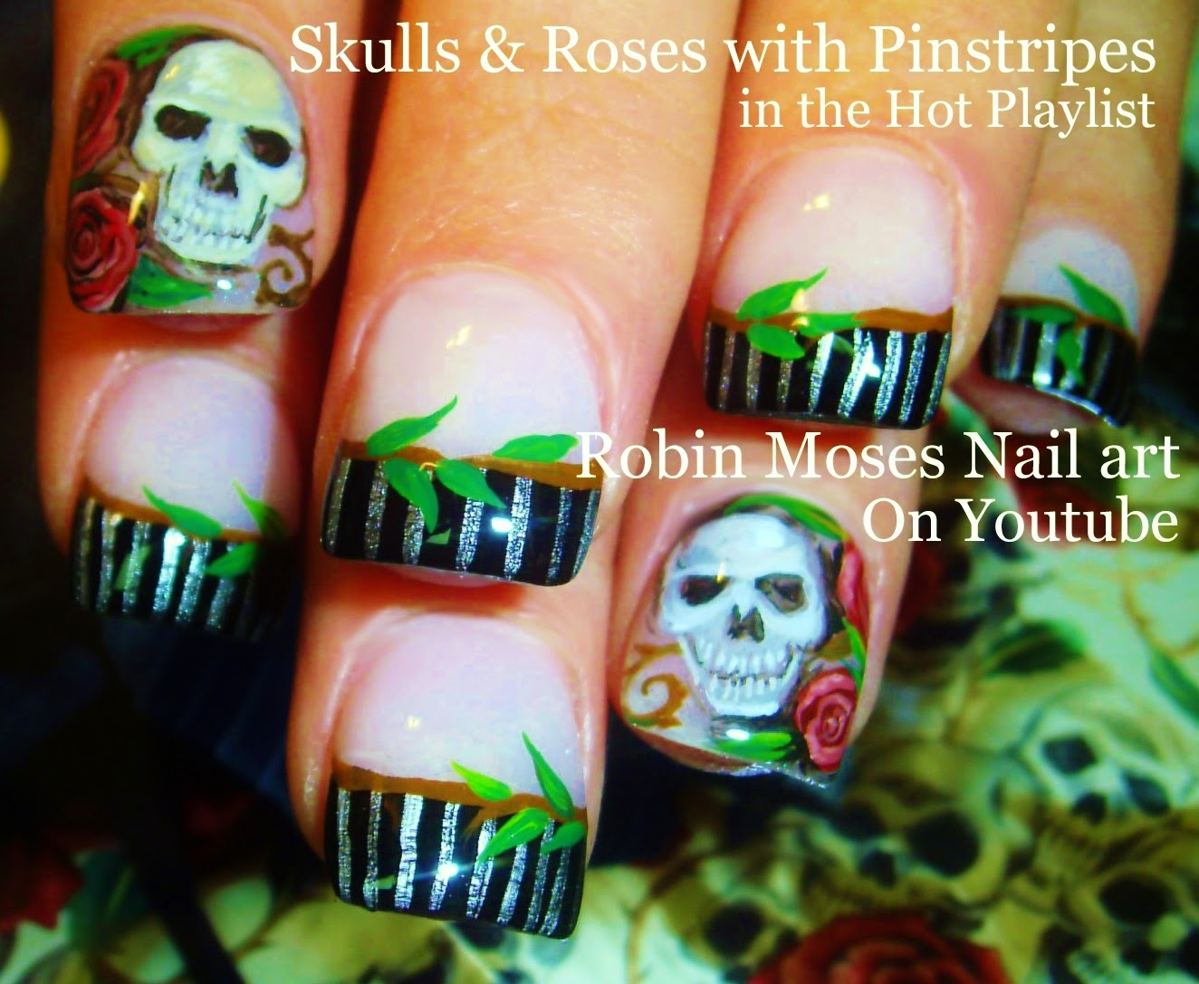 Nail Art By Robin Moses Skull Nails Halloween Nails Red Rose