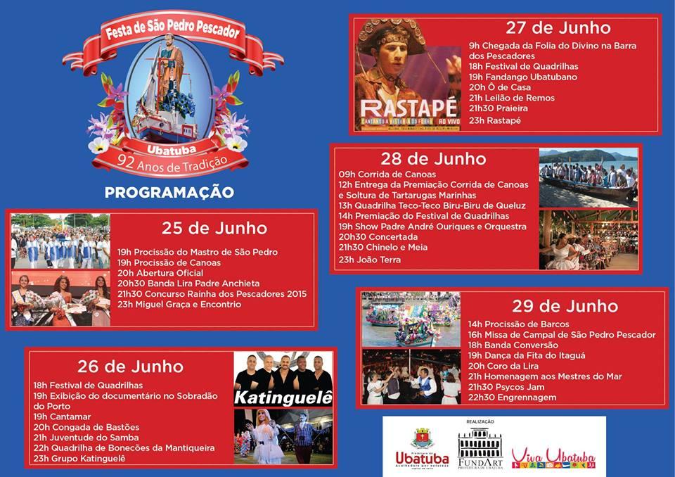 PROGRAMAÇÃO DA FESTA DE SÃO PEDRO PESCADOR