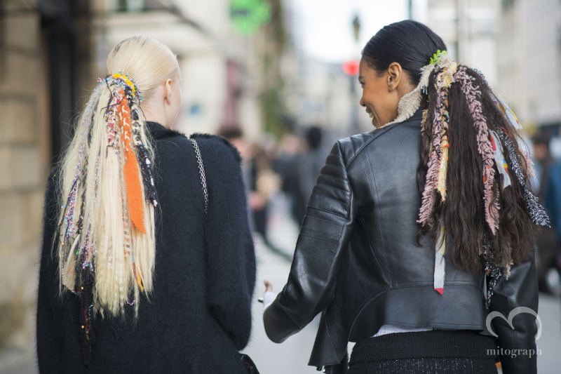 Juliana Schurig and Grace Mahary After Chanel show with Chanel's show hair during Paris Fashion Week 2014 Fall Winter PFW