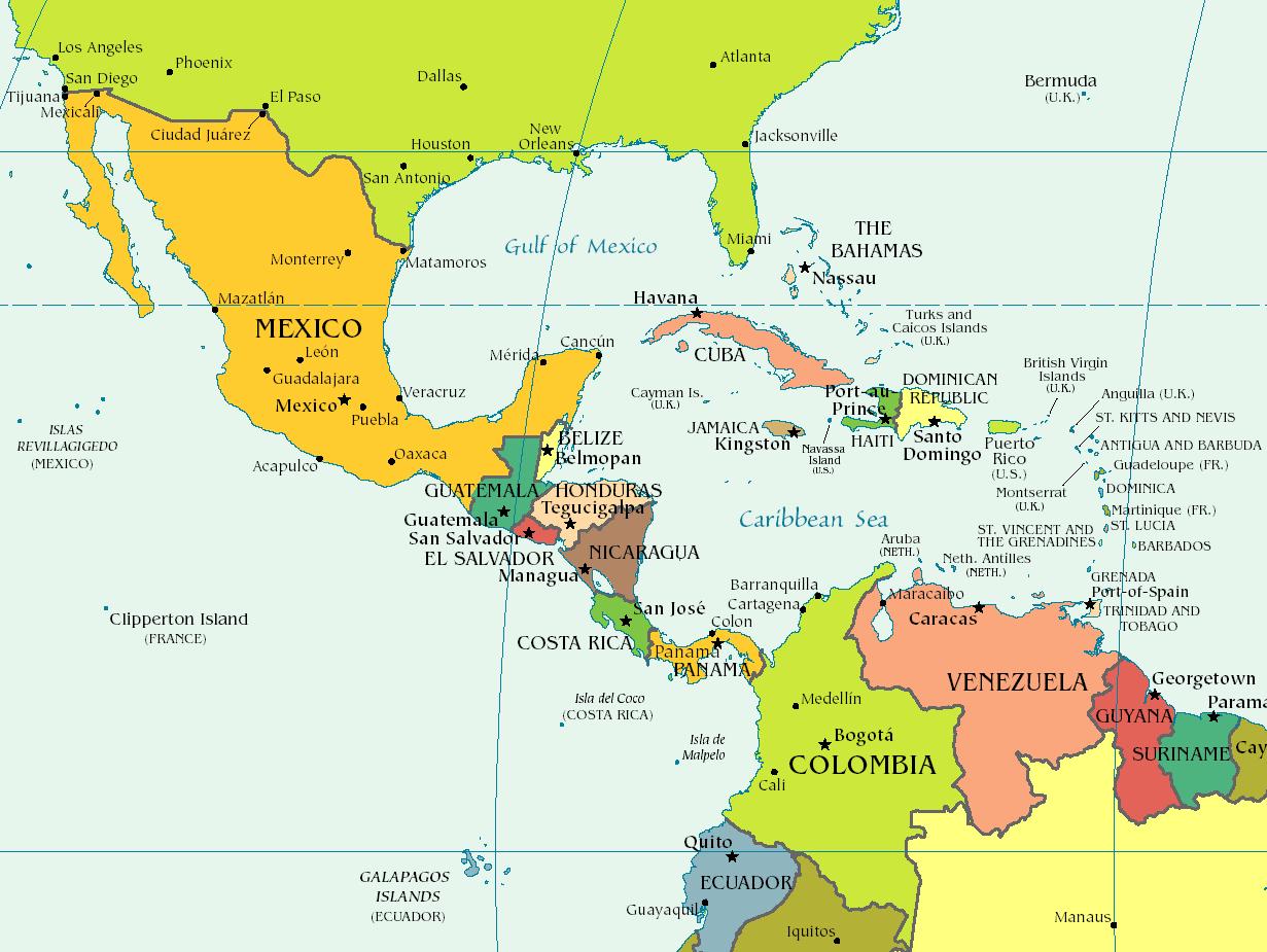 mapas de sudamerica y centroamerica