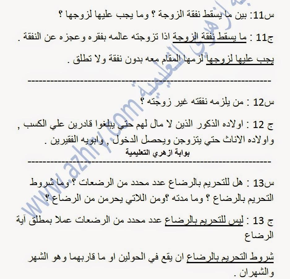 مراجعة ليلة الامتحان في الفقه المالكي ( تيسير شرح ابي الحسن ) ثاني إعدادي ترم ثان 2015