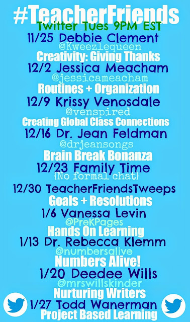 TeacherFriends Twitter Calendar of Guests! Moderated by Debbie Clement