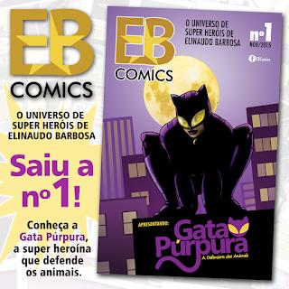Capa da primeira história em quadrinhos da Gata Púrpura, criação de Elinaudo Barbosa