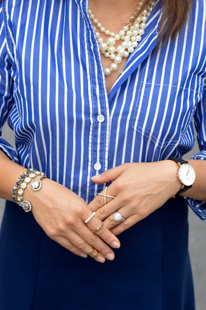 Daniel Wellington Lady Scheffiled Watch, BaubleBar Crystal Mason Ring, BaubleBar Dual Band Rng
