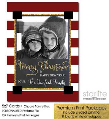 http://starwedd.com/product/christmas-photo-card-red-stripes-chalkboard-gold-glitter-festive-printable-or-printed/