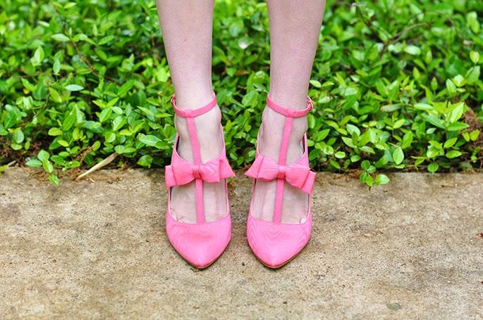 Nine West pink bow heels