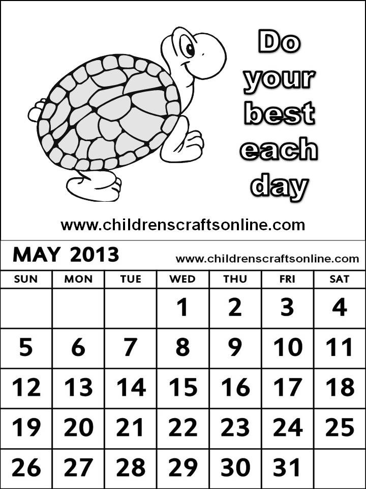 Kids Calendar Pages : May calendar printable free coloring pages
