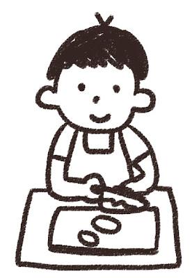 料理のイラスト「料理をしている男の子」 白黒線画