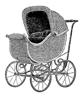baby carriage vintage wicker