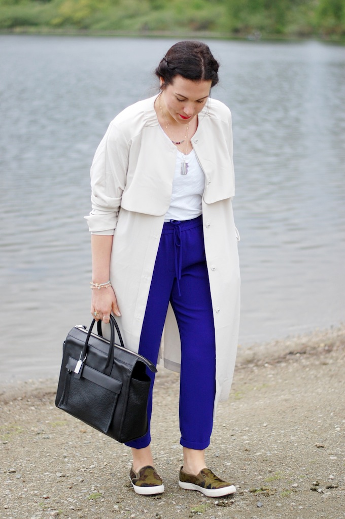 H&M trench coat, J.Crew indigo trousers and Coach Riley handbag by Vancouver fashion blog Covet and Acquire.