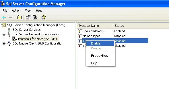 how to configure sql server 2008 to allow network connections