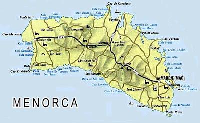 Menorca Mapa Ciudad de la Región