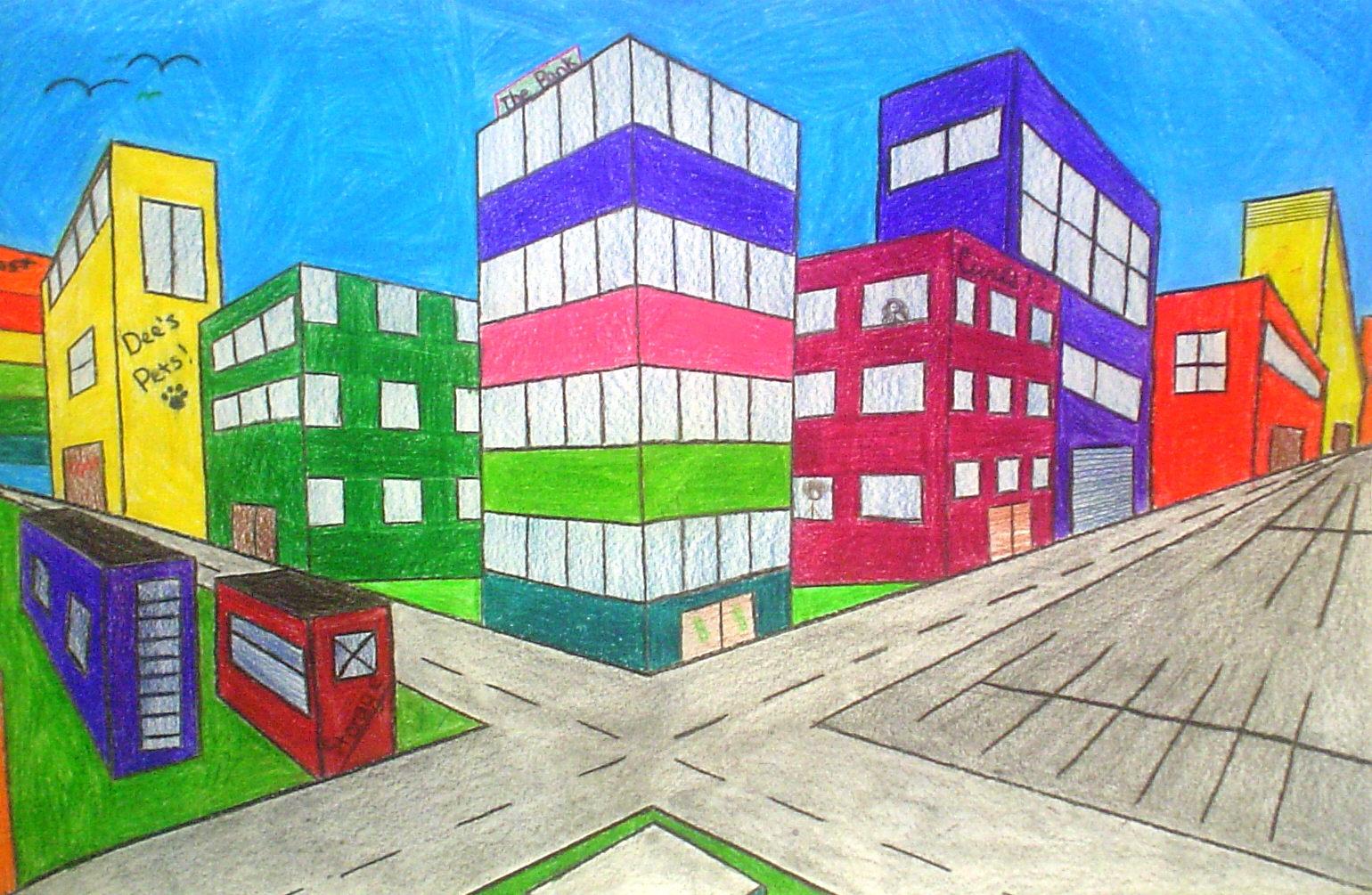 perspective drawings of buildings. Brilliant Buildings Each Drawing Includes At Least 3 Buildings Above The Horizon Line  Below 4 Overlapping Areas And 10 Details With Perspective Drawings Of Buildings