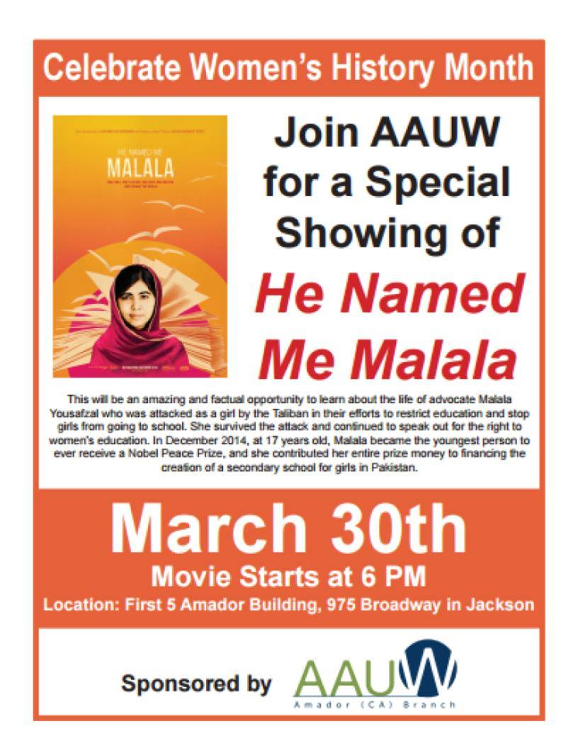 AAUW Movie - Thurs Mar 30