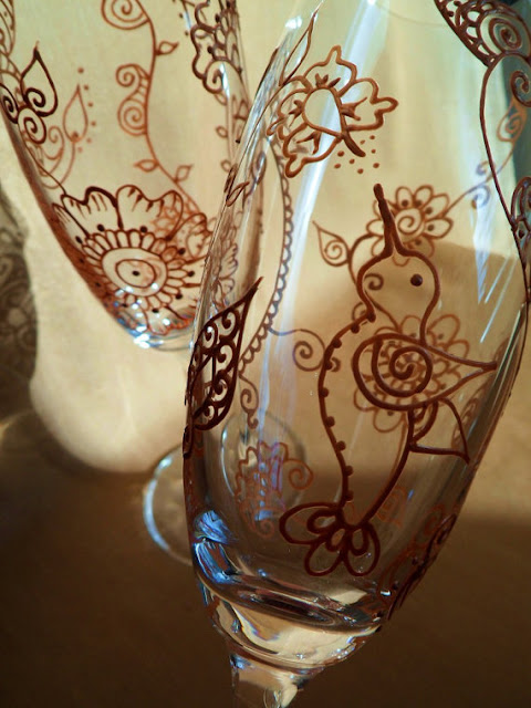 Mehndi Arm Glass : The enchanted collective of etsy spotlight on mehndi glass