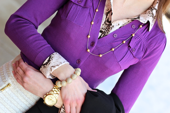 Snake Collar &amp; Cuffs, Purple, Gold | StyleSidebar