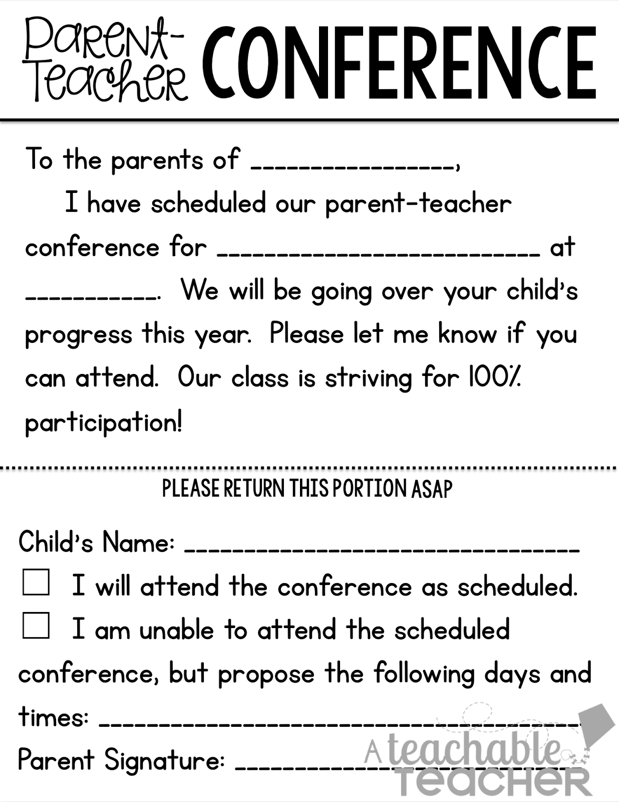 Teachable Teacher: Parent-Teacher Conference Tips and Freebies Linky ...