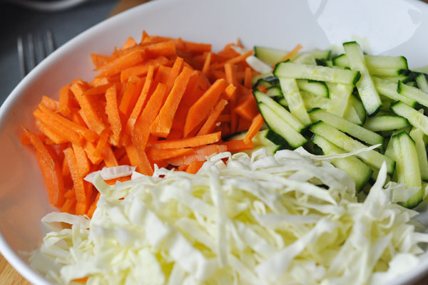 Ngiom cabbage carrot cucumber