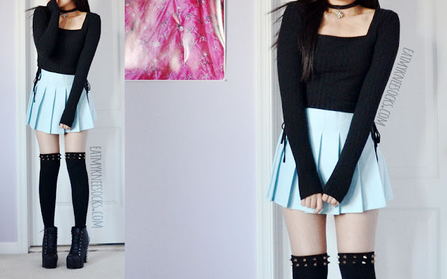 Here I'm wearing the pastel blue pleated tennis skirt from Fusion Republic (similar to the American Apparel skirts), spiked over-the-knee socks, a ribbed lace-up Kendall and Kylie crop top, and black Jeffrey Campbell Lita spike platform booties dupes for a pastel grunge/Harajuku-inspired look.
