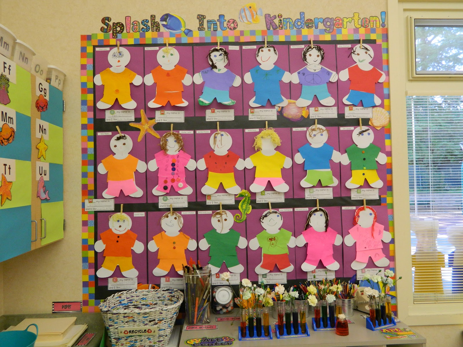 Kindergarten milestones bulletin boards for Art decoration for classroom