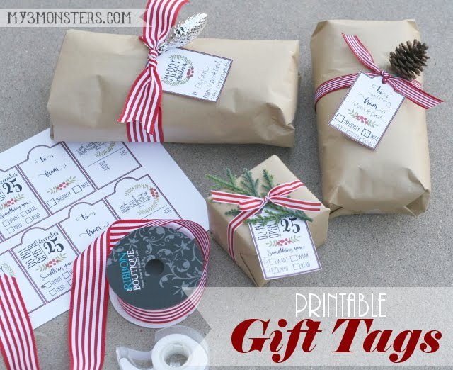FREE Printable Holiday Gift Tags at my3monsters.com