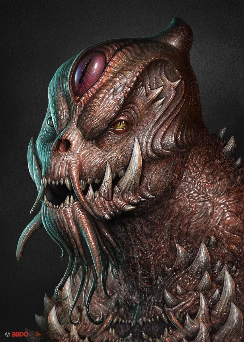 illustration de Martin de Diego Sádaba représentant un monstre type reptilien avec de grandes dents