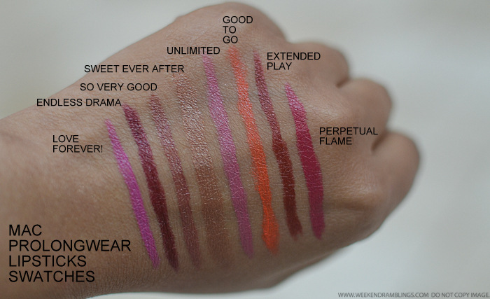 MAC Prolongwear Lipsticks Swatches Love Forever Endless Drama So Very Good Sweet Ever After Unlimited Good to Go Extended Play Perpetual Flame