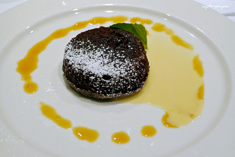 Flourless chocolate cake with orange reduction, creme anglaise $13.50