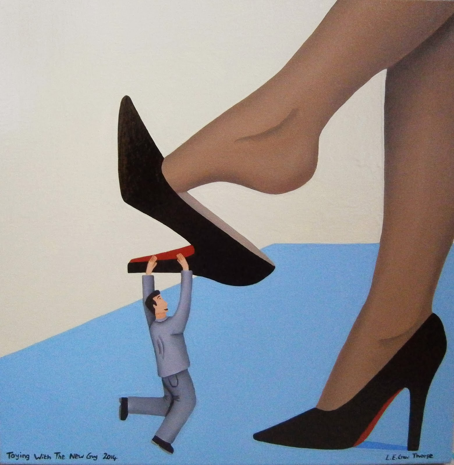 A shrunken man hanging from the heel of a woman's dangling shoe