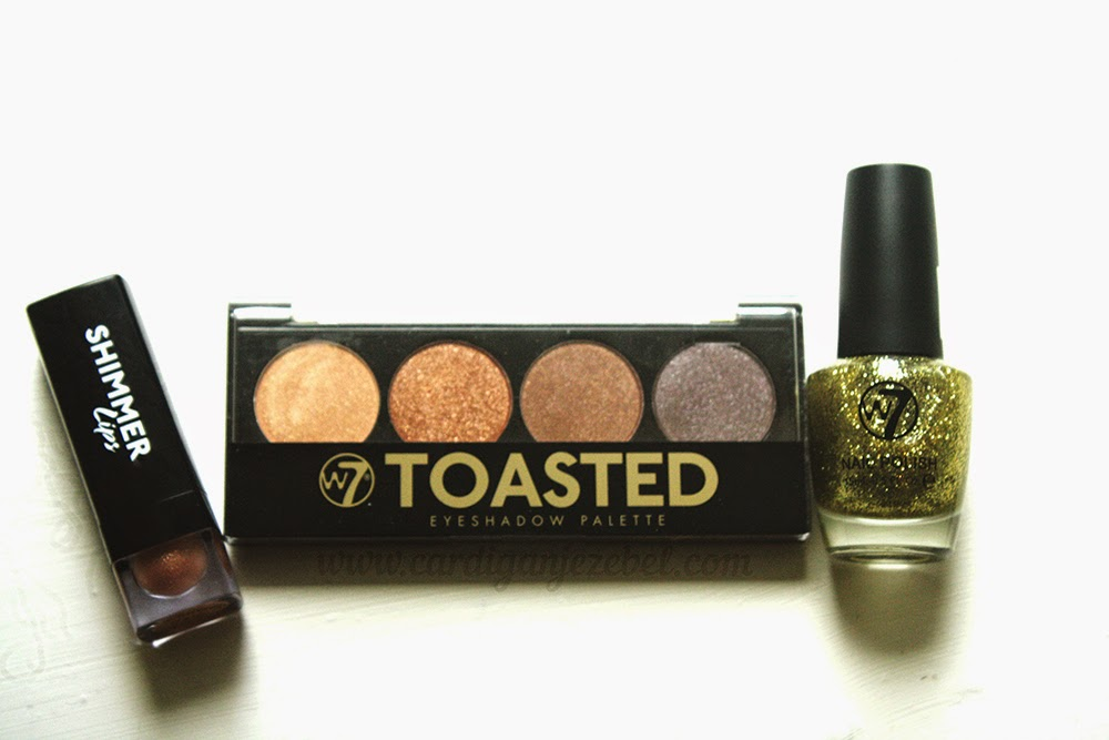 W7 cosmetics toasted palette, shimmer lips, and nail polish review