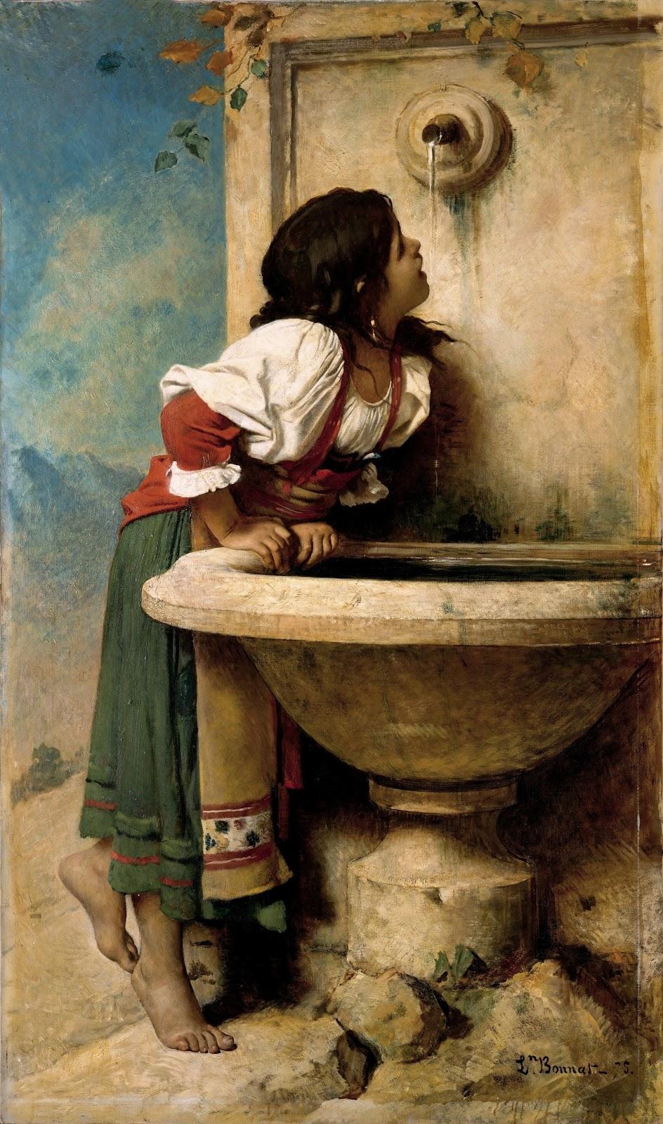 Leon  onnat Roman Girl at a Fountain