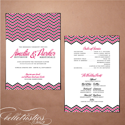 modern pink black chevron printable diy wedding ceremony program design