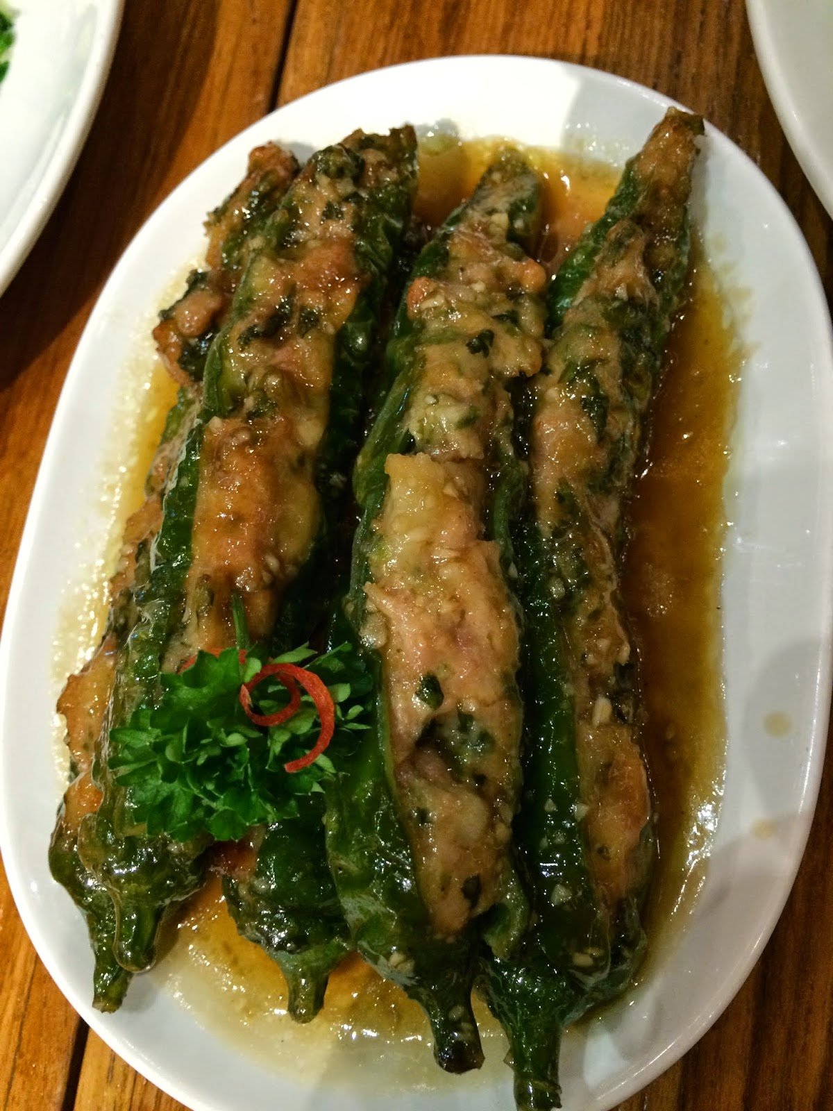Green Chillies stuffed with mince at Din Tai Fung