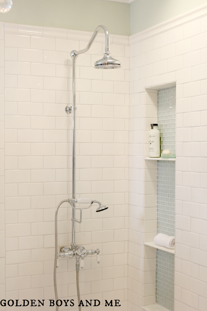 Elizabethan Classics exposed shower in master bath with white subway tile-www.goldenboysandme.com