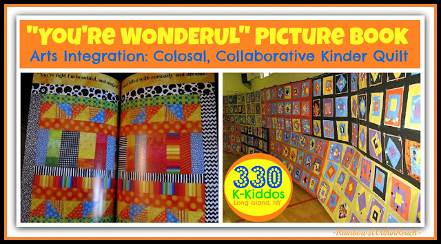 "photo of: ""You're Wonderful"" Kindergarten Collaborative Quilt Mural on Author-Illustrator School Visit"
